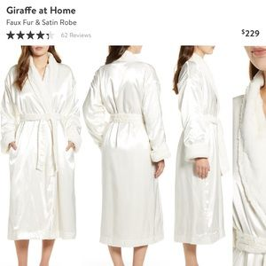Giraffe at Home Faux Fur and Satin Robe 🤍
